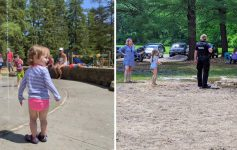 split image with splash pad on left and drainage issues from splash pad on the right