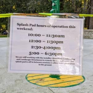 splash pad hours posted
