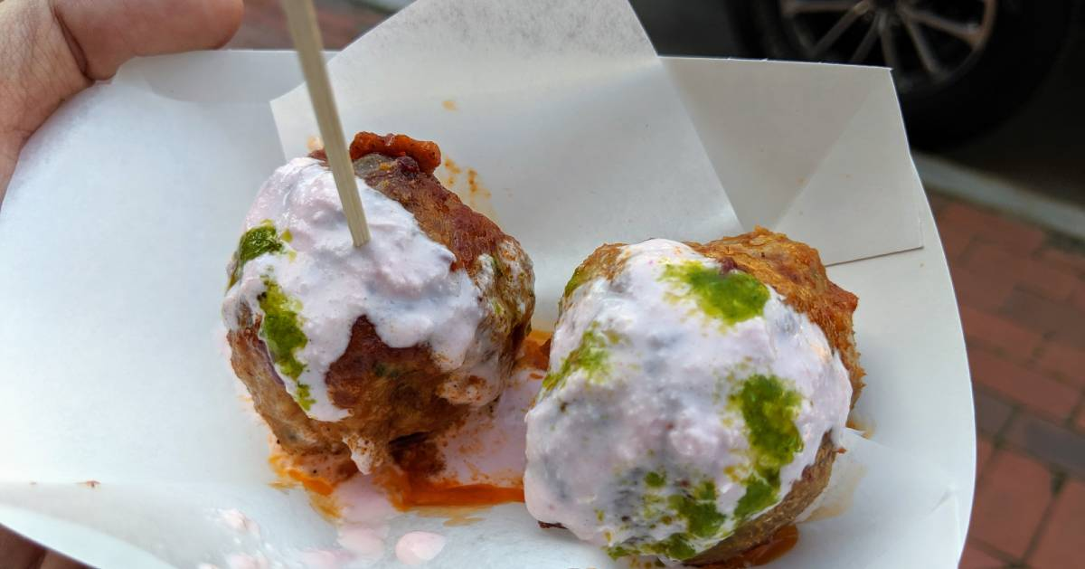 meatballs with white sauce and pesto