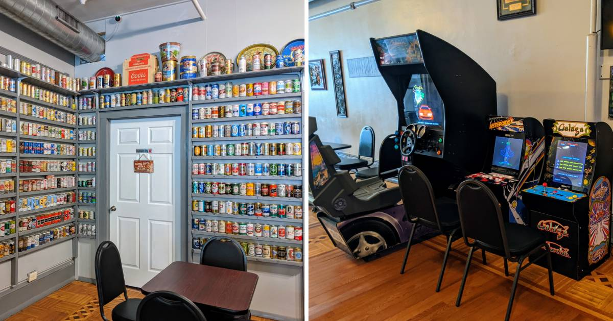 split image with beer cans on the wall on the left and old school video games on the right