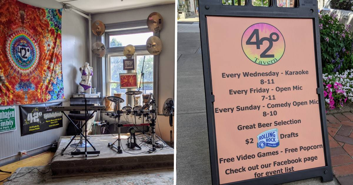 split image with drum set on the left and small board listing tavern info on the right