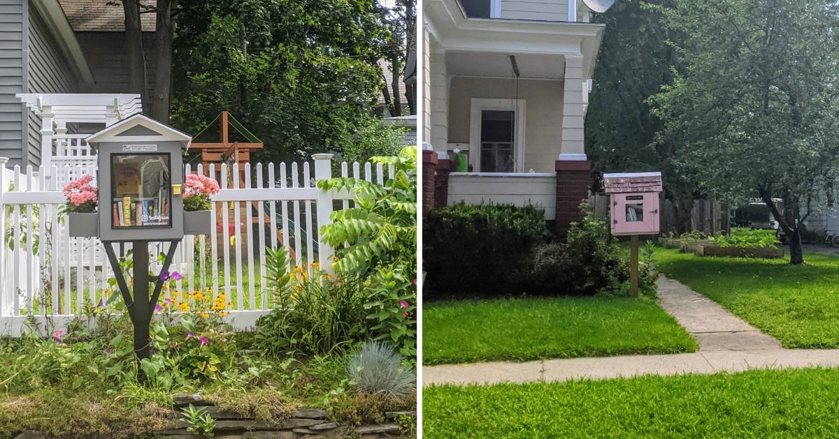 split image of little libraries on either side