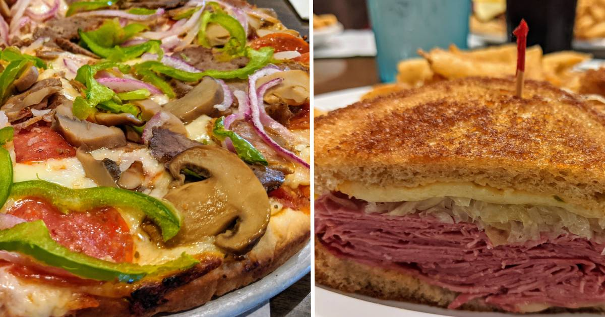 split image with pizza on left and reuben on right